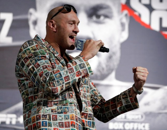Tyson Fury, of England, speaks during a news conference, Wednesday, June 12, 2019, in Las Vegas. Fury is scheduled to fight Tom Schwarz, of Germany, in a heavyweight bout Saturday in Las Vegas. (AP Photo/John Locher)