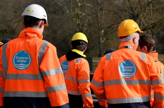 Thames Water operatives are seen at a water distribution site in Hampstead in London, Britain, March 5, 2018