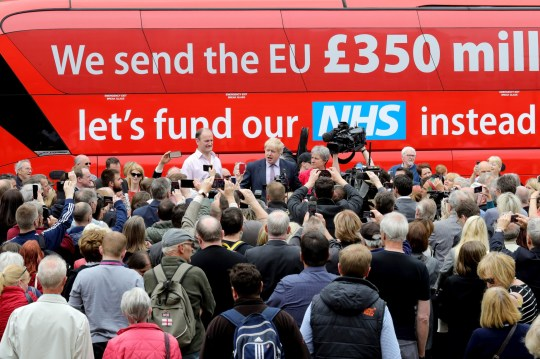 Boris Johnson MP, Labour MP Gisela Stuart and UKIP MP Douglas Carswell address the people of Stafford in Market Square during the Vote Leave, Brexit Battle Bus tour on May 17, 20016 in Stafford, England. Boris Johnson and the Vote Leave campaign are touring the UK in their Brexit Battle Bus. The campaign is hoping to persuade voters to back leaving the European Union in the Referendum on the 23rd June 2016. (Photo by Christopher Furlong/Getty Images)