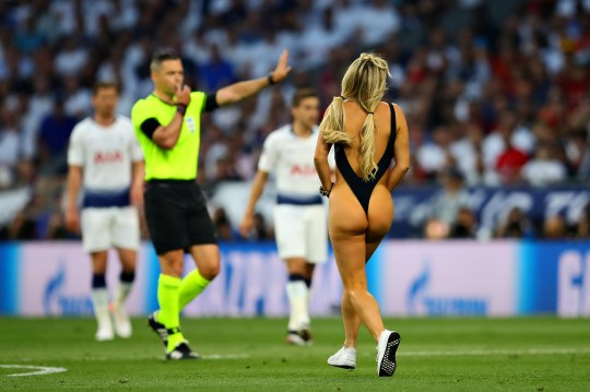 A streaker enters the pitch during the UEFA Champions League Final between Tottenham Hotspur and Liverpool