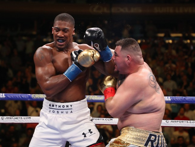Andy Ruiz Jr punches Anthony Joshua after their IBF/WBA/WBO heavyweight title fight at Madison Square Garden on June 01, 2019 in New York City. (Photo by Al Bello/Getty Images)
