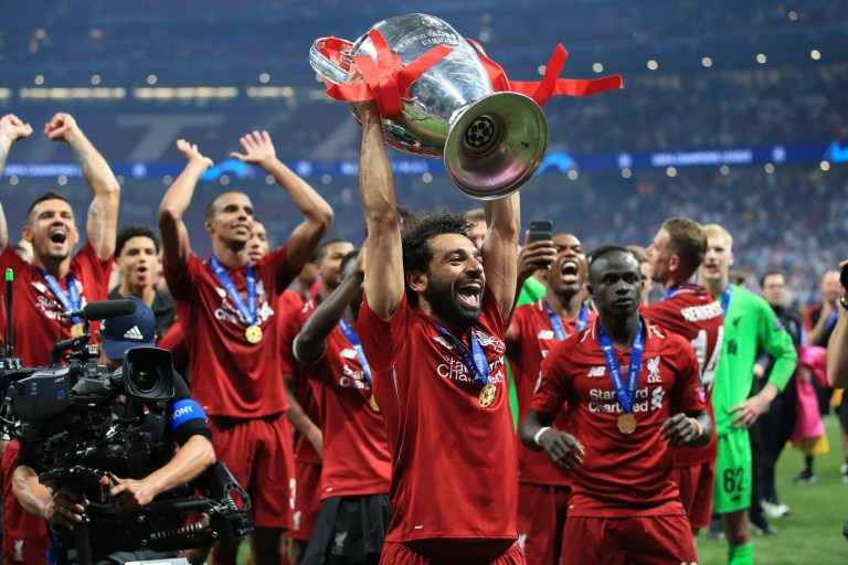 12b8ddcd7 MADRID, SPAIN - JUNE 01: Mohamed Salah of Liverpool celebrates with the  trophy after