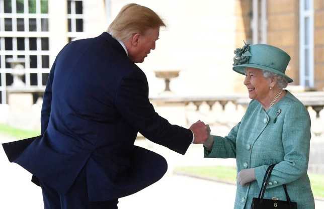 Britain's Queen Elizabeth II (R) shakes hands with US President Donald Trump during a welcome ceremony at Buckingham Palace in central London on June 3, 2019, on the first day of the US president and First Lady's three-day State Visit to the UK. - Britain rolled out the red carpet for US President Donald Trump on June 3 as he arrived in Britain for a state visit already overshadowed by his outspoken remarks on Brexit. (Photo by Victoria Jones / POOL / AFP)VICTORIA JONES/AFP/Getty Images
