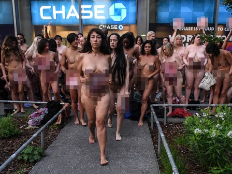 Dozens of women get naked outside Facebook to protest against its female nipple ban