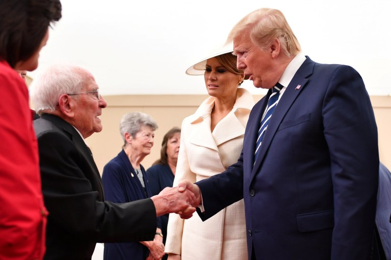 Veteran Thomas Cuthbert, 93, made a flirtatious comment about the First Lady Told President Trump: 'If it wasn't for you, and if only I was 20 years younger' / U.S. President Donald Trump and First Lady Melania Trump meet veterans during the D-Day 75 National Commemorative event in Portsmouth, Britain, June 5, 2019. Jeff J Mitchell/Pool via Reuters