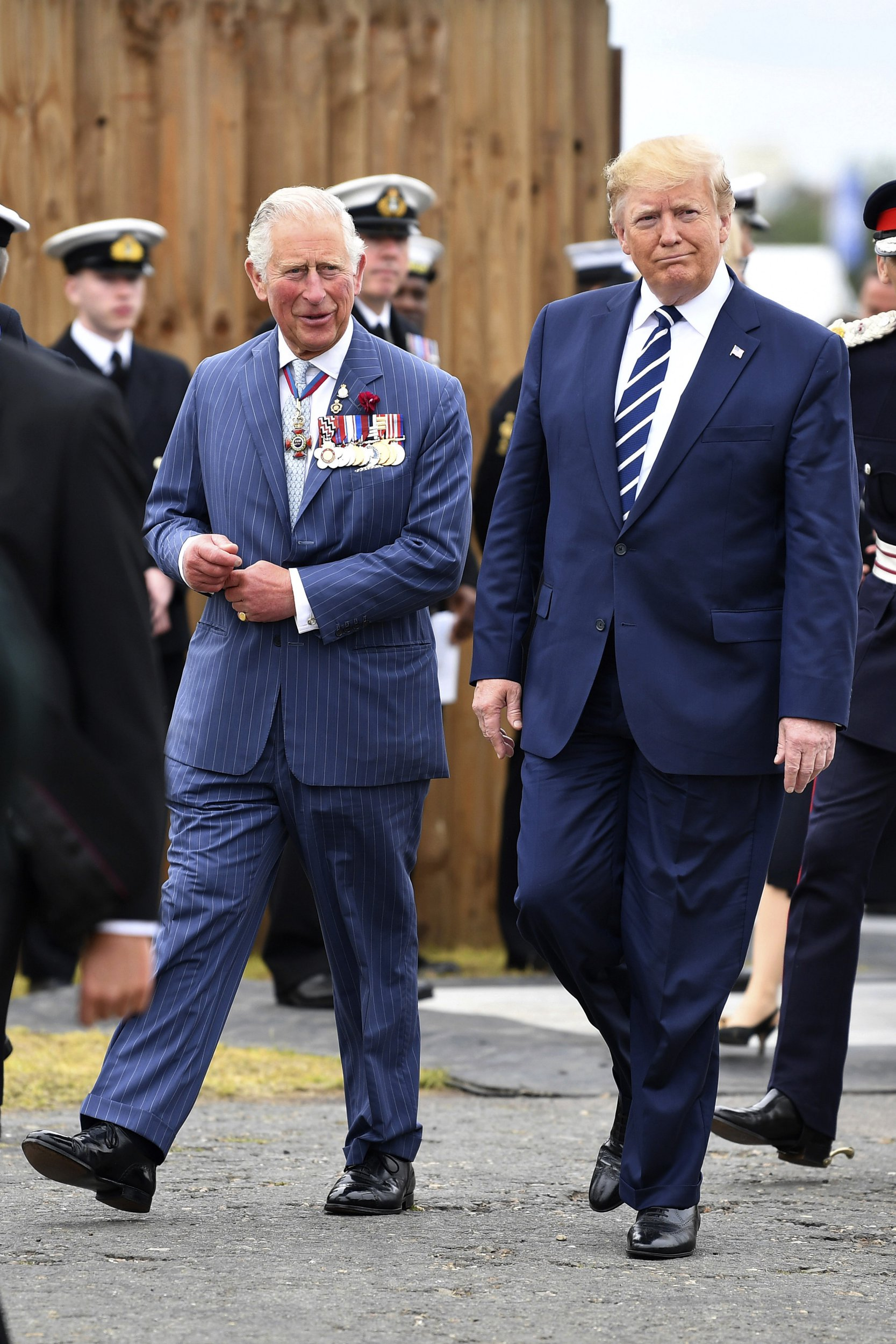 Donald Trump, graphic with Prince Charles in Portsmouth on Jun 5, incorrectly referred to a stately as a 'Prince of Whales'