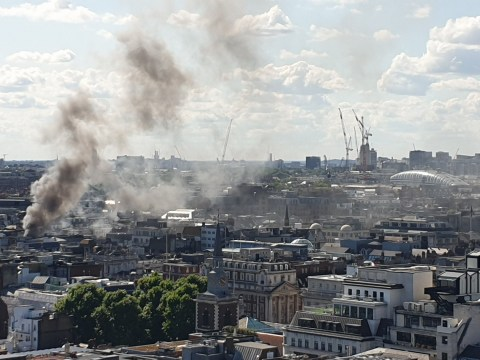 Huge clouds of smoke in London's West End as firefighters tackle restaurant fire