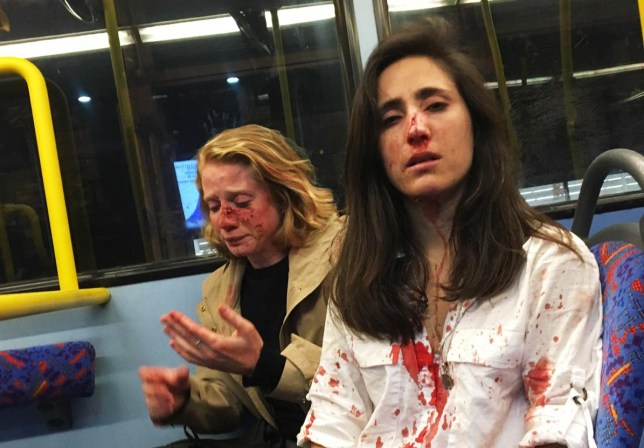 Melania Geymonat (R) and her girlfriend Chris were beaten up by a gang of men on a London bus