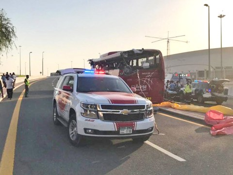 Bus crash leaves 17 dead after hitting overhead sign near Dubai Airport