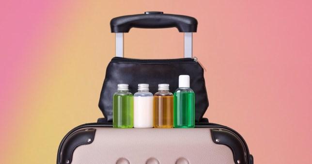 A bag filled with travel bottles