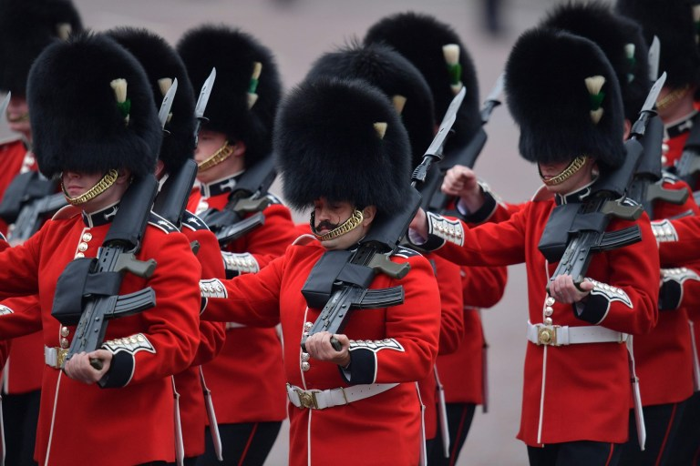 Members of the Welsh Guards, a regiment of Household Division, march to Horseguards parade ahead of the Queen's Birthday Parade, 'Trooping the Colour', in London on June 8, 2019. - The ceremony of Trooping the Colour is believed to have first been performed during the reign of King Charles II. Since 1748, the Trooping of the Colour has marked the official birthday of the British Sovereign. Over 1400 parading soldiers, almost 300 horses and 400 musicians take part in the event. (Photo by Daniel LEAL-OLIVAS / AFP)DANIEL LEAL-OLIVAS/AFP/Getty Images