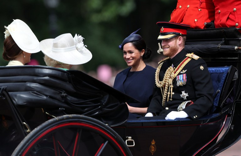 Britain's Prince Harry and Meghan, Duchess of Sussex take part in the Trooping the Colour parade in central London, Britain June 8, 2019. REUTERS/Hannah Mckay