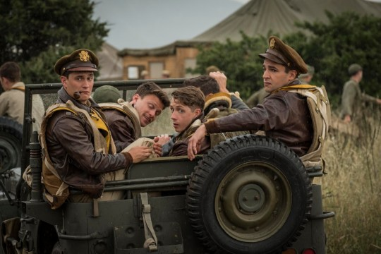 Catch-22 -- Episode 1 -- Young American flyers arrive in war and discover that the bureaucracy is more deadly than the enemy. McWatt (Jon Rudnitsky), Kid Sampson (Gerran Howell), Yossarian (Christopher Abbott), shown. (Photo by: Philippe Antonello/ Hulu)