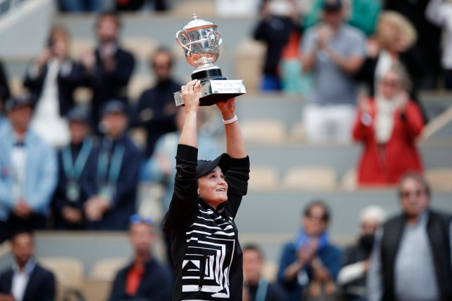 Tennis - French Open - Roland Garros, Paris, France - June 8, 2019. Australia's Ashleigh Barty celebrates with the trophy after winning the final against Marketa Vondrousova of the Czech Republic. REUTERS/Benoit Tessier