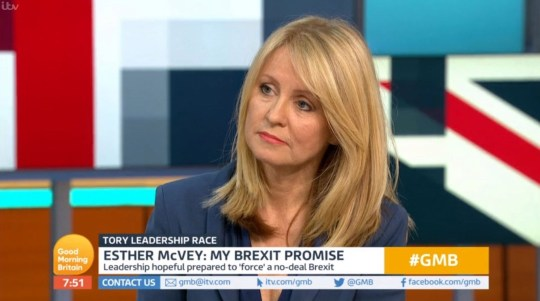 TV OUT. ALL BROADCAST WEBSITES OUT. No cropping permitted. Picture must be credited to ITV. We are advised that video grabs should not be used more than 48 hours after the time of original transmission, without the consent of the copyright holder. Video grab taken from ITV of Esther McVey on Good Morning Britain. Lorraine Kelly appeared to 'snub' her former GMTV colleague and Tory leadership hopeful, MP Esther McVey, on air during a live link to ITV's Lorraine from Good Morning Britain. PRESS ASSOCIATION Photo. Issue date: Monday June 10, 2019. See PA story SHOWBIZ Kelly. Photo credit should read: ITV/PA Wire NOTE TO EDITORS: This handout photo may only be used in for editorial reporting purposes for the contemporaneous illustration of events, things or the people in the image or facts mentioned in the caption. Reuse of the picture may require further permission from the copyright holder.