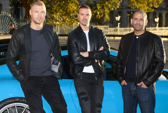 Editorial use only Mandatory Credit: Photo by Ashley Knotek/REX/Shutterstock (9940027g) Andrew 'Freddie' Flintoff, Paddy McGuinness and Chris Harris BBC Top Gear's new presenting line-up announced, London, UK - 22 Oct 2018 Freddie Flintoff, Paddy Mcguinness and Chris Harris are revealed as BBC Top Gear?s new presenting line-up, taking over the helm from Matt LeBlanc whose final series will air in early 2019 on BBC Two.