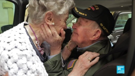 Lovers reunited 75 years on from WW2 In 1944, KT Robbins was stationed with his regiment in Briey, eastern France, where he fell in love with an 18-year-old French girl, Jeannine Pierson n?e Ganaye. Two months later, he had to leave the village in a hurry for the eastern front, leaving them both wondering whether they would ever meet again. He kept a picture of her and showed it to journalists from the French broadcaster, France 2, while they were filming a report on veterans in the United States. A few weeks later, he went to France for the commemorative ceremonies marking the 75th anniversary of the D-Day landings. To his surprise, journalists had managed to track her down.
