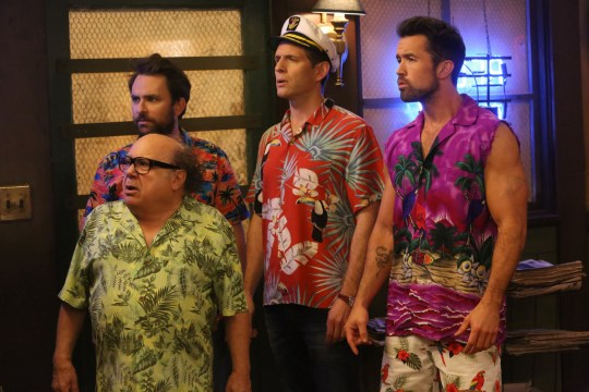 Editorial use only. No book cover usage. Mandatory Credit: Photo by 20th Century Fox/Kobal/REX (10053403ac) Danny DeVito as Frank, Charlie Day as Charlie, Glenn Howerton as Dennis and Rob McElhenney as Mac 'It's Always Sunny in Philadelphia' TV Show Season 13 - 2018 Five friends with big egos and slightly arrogant attitudes are the proprietors of an Irish bar in Philadelphia.
