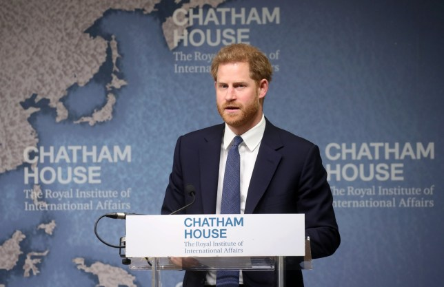 "LONDON COLNEY, ENGLAND - JUNE 17: Prince Harry, Duke of Sussex makes a speech as he attends the Chatham House Africa Programme event on ""Mine, Clearance, Conservation and Economic Development in Angola"" at Chatham House on June 17, 2019 in London Colney, England. (Photo by Chris Jackson - WPA Pool/Getty Images)"