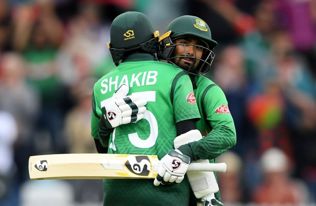 TAUNTON, ENGLAND - JUNE 17: Shakib Al Hasan of Bangladesh celebrates his century with Liton Das of Bangladesh during the Group Stage match of the ICC Cricket World Cup 2019 between West Indies and Bangladesh at The County Ground on June 17, 2019 in Taunton, England. (Photo by Alex Davidson/Getty Images)