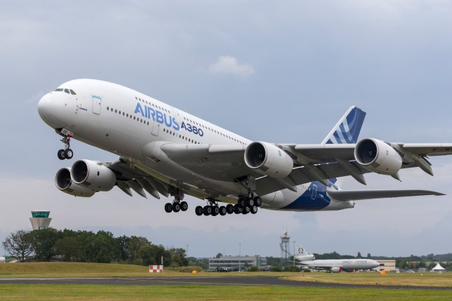 Farnborough, UK - July 19, 2014: Airbus A380-841 large four engined commercial airliner aircraft F-WWOW. ; Shutterstock ID 1258407763; Purchase Order: -