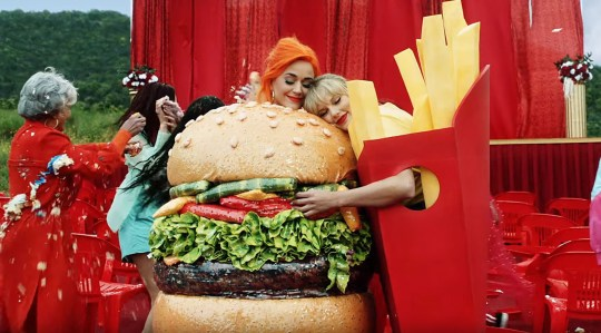 Picture: UMG Celebs in video for Taylor Swift You Need To Calm Down Pictured: Katy Perry and Taylor Swift