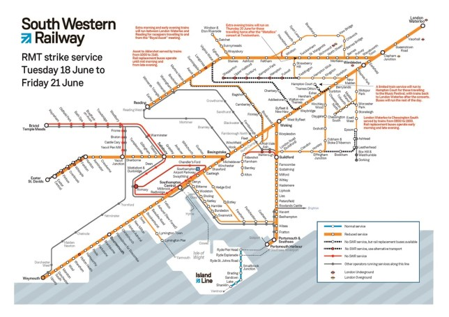 South Western Railway network map