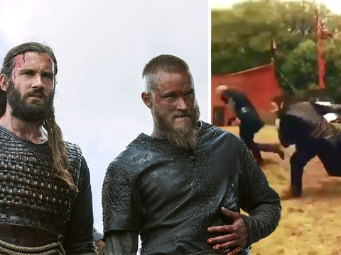 Vikings stars Travis Fimmel and Clive Standen go head to head in hilarious BTS race