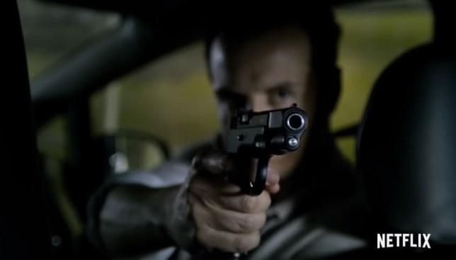 Black Mirror Smithereens Andrew Scott brandishing a gun