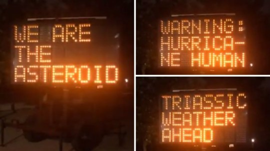 This traffic display sign in Houston, Texas, left drivers confused by sharing a selection of strange messages Wednesday morning