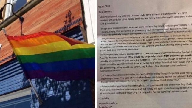 Bonefish Harry's restaurant in Beverly, Maine, shared a letter from a customer angry at their decision to fly a pride flag. They have since denied writing it themselves as a publicity stunt