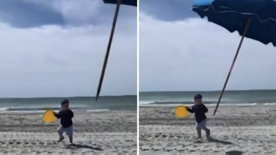 Toddler Henry Duggan was almost impaled by a flying beach umbrella while enjoying the sun with his mom Ashton