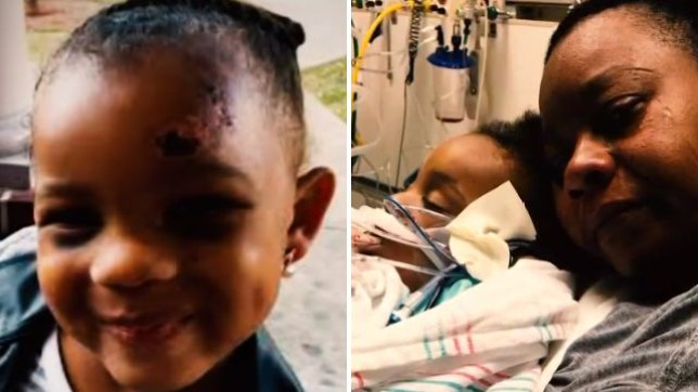 A'lona 'Halo' Williams died aged just three after suffering horrific physical and sexual abuse. Her grandma Mikisha Vaughn, pictured with Halo in hospital, has hit out at Child Protective Services for allegedly ignoring her calls to investigate while Halo was alive