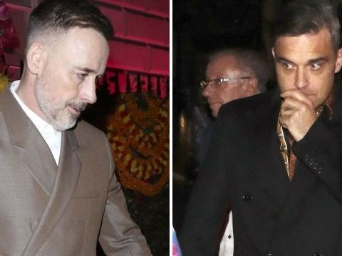 Elton John's husband David Furnish lets loose with Robbie Williams and David Walliams at swanky Mayfair party