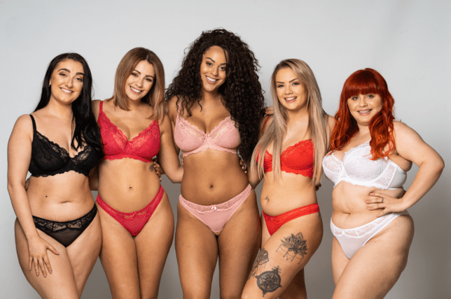 Five women of all shapes and sizes posing together in lingerie from Ivy Rose