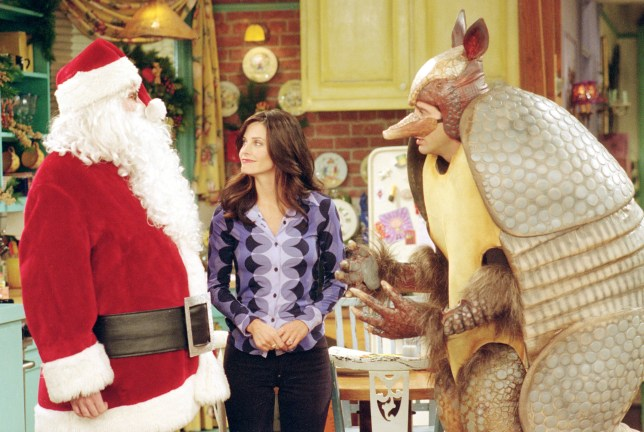 Matthew Perry as Chandler, Courteney Cox as Monica And David Schwimmer as Ross in Friends