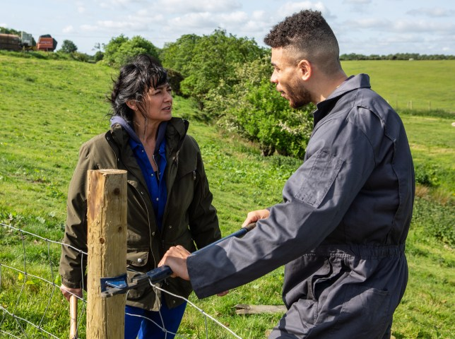Jurell Carter as Nate Robinson and Natalie J Robb as Moira Dingle in Emmerdale