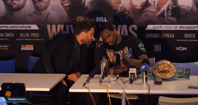 Dillian Whyte and Eddie Hearn were recorded talking about the failed test at the post-fight press conference