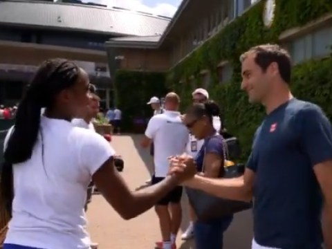 Roger Federer stops for quick chat with Cori Gauff before 15-year-old's second-round match at Wimbledon