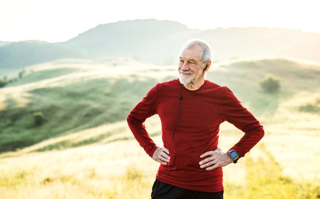 An older man out running