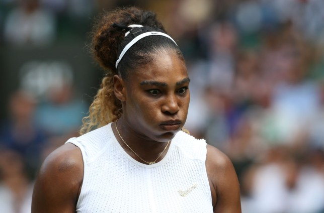 Serena Williams puffs her cheeks out at Wimbledon