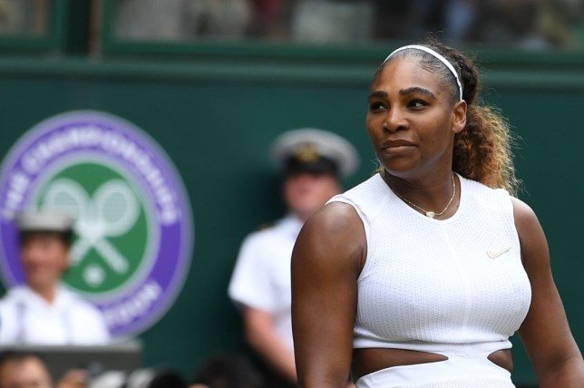 Serena Williams looks on during her Wimbledon final defeat