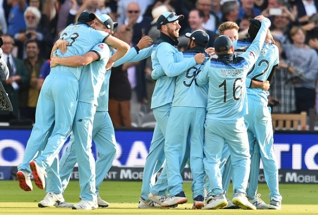 England celebrate their stunning victory in the World Cup final