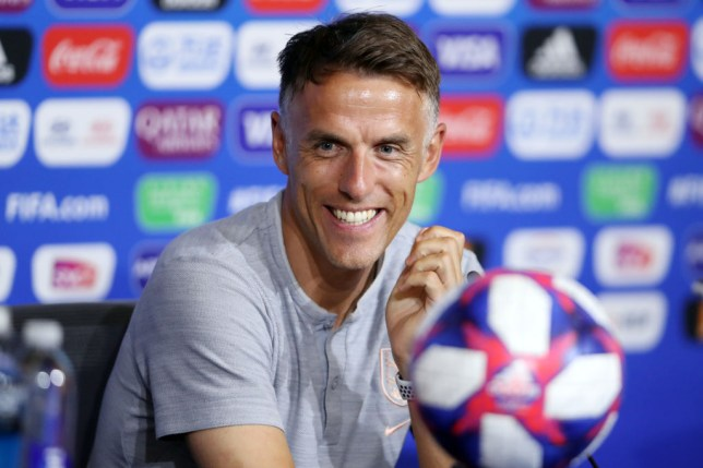 Phil Neville at an England press conference for the Women's World Cup