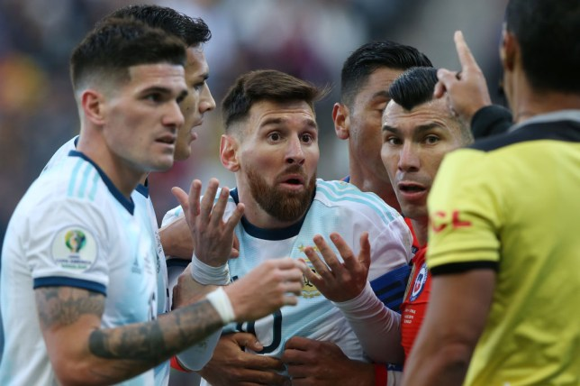 Argentina superstar Lionel Messi was sent off for a clash with Chile's Gary Medel