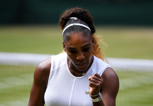 Serena Williams celebrates on her way to the Wimbledon final