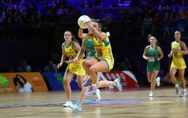 Australia's Kelsey Browne at the 2019 Netball World Cup