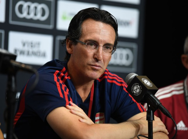 Arsenal manager Unai Emery sits in a press conference