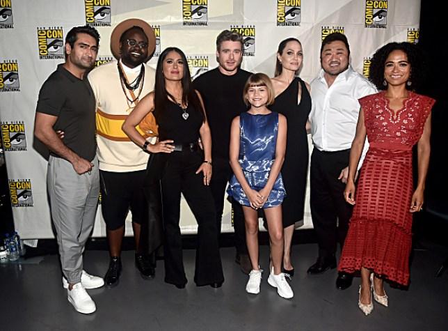 Eternals cast Kumail Nanjiani, Brian Tyree Henry, Salma Hayek, Richard Madden, Lia McHugh, Angelina Jolie, Don Lee and Lauren Ridloff
