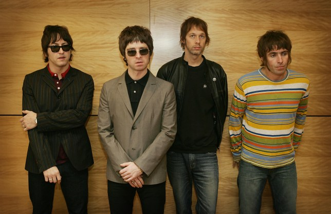 Gem, Noel Gallagher, Andy Bell and Liam Gallagher as the band Oasis